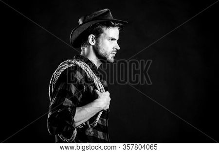 Cowboy Can Carry Tune. Vintage Style Man. Wild West Retro Cowboy. Man Checkered Shirt On Ranch. West