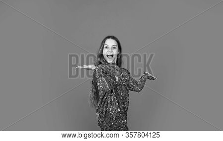 Party Is On. Party Girl Red Background. Happy Child With Party Look. Fashion And Beauty. Holiday Cel