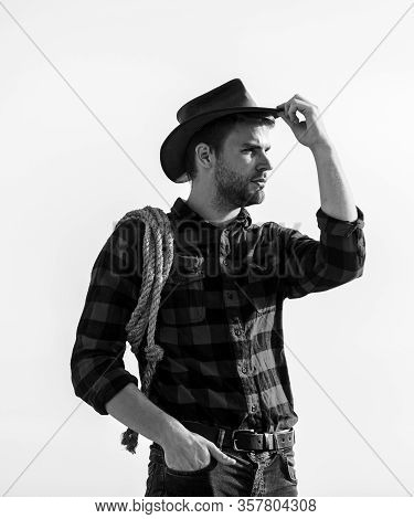 Ranch Worker. Life At Ranch. Cowboy With Lasso Rope Sky Background. Eco Farm. Farming Concept. Hands