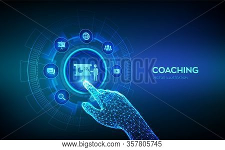 Coaching And Mentoring Concept On Virtual Screen. Personal Development. Education And E-learning. We