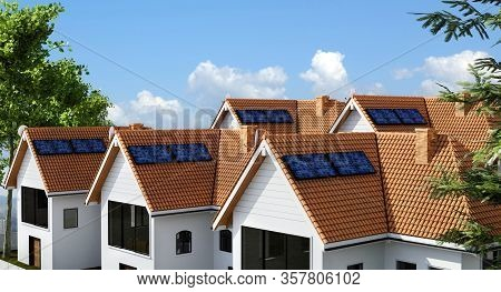 3d Render Of Multiple Town Houses With Photovoltaic Solar Panel Equipment For Creating Clean Ecologi