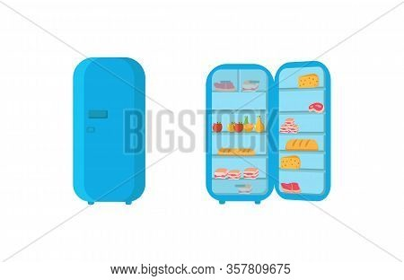 An Open Refrigerator Door Full Of Vegetables, Fruits, Meat And Dairy Products. Fridge Full Of Grocer