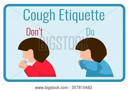 Cough Etiquette Banner With Sick Woman. Flu Or Bacteria Disease Spread In Social Place. Coronavirus
