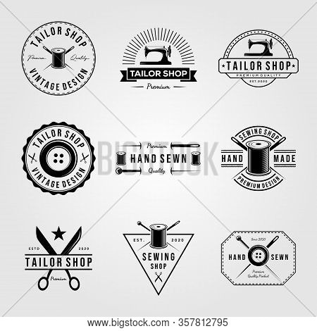 Set Of Vintage Tailor Shop Sewn Logo Vector Hand Made Illustration