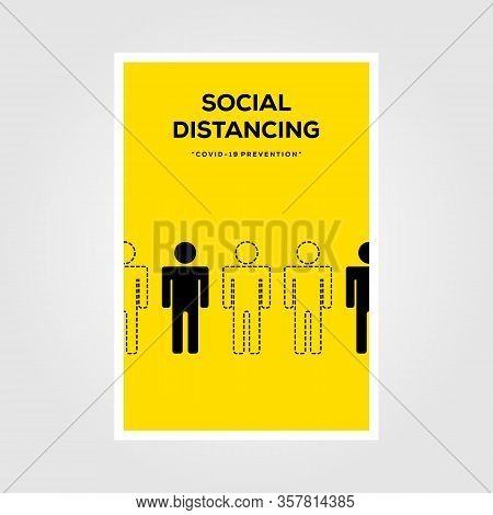 Social Distancing Sign Line Art Vector Poster Illustration Deisgn