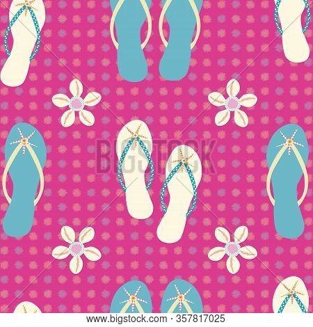 Flip Flop Shoe Seamless Vector Pattern Background. Elegant Sandals, Starfish, Cowrie Shell Geometric