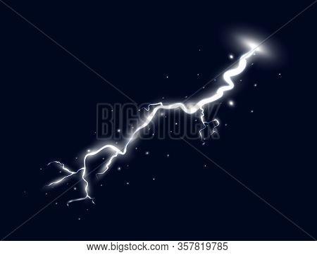 White Lightning Isolated On Dark Background. Thunder Storm Design Element. Magic Shining Light Effec