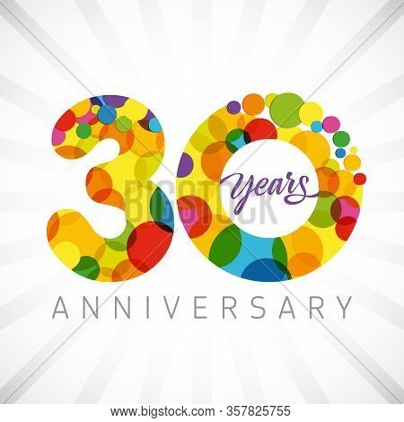30 Th Anniversary Numbers. 30 Years Old Multicolored Congrats. Cute Congratulation Concept. Isolated