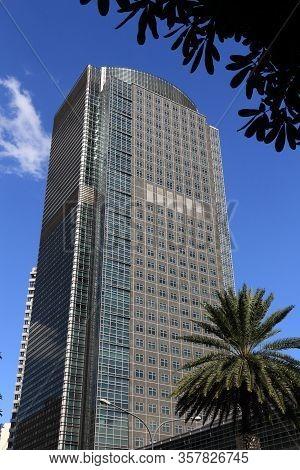 Manila, Philippines - November 28, 2017: Ayala Tower One Skyscraper In Makati City, Metro Manila, Ph