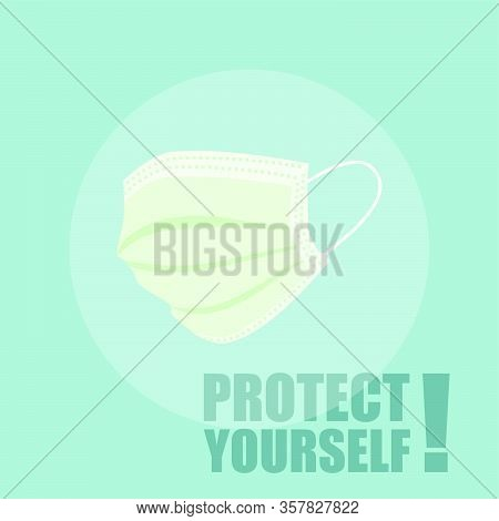 Green Masker For Self Protection Vector Illustration, Template Design