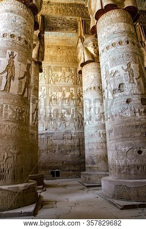 Beautiful Interior Of The Temple Of Dendera Or The Temple Of Hathor, Goddess Of Love. Egypt, Dendera