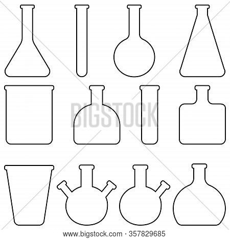 Set Icons Glass Laboratory Tableware, Vector Flasks And Test Tubes Medical Tableware For Laboratory