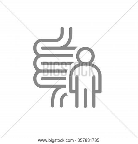 Intestine With Man Line Icon. Human Digestive Tract Symbol
