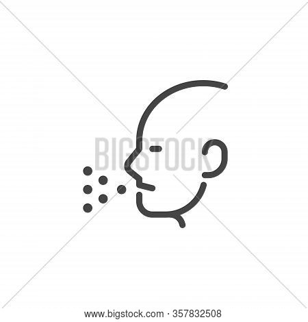 Portrait Of A Coughing Man. Symptom Of The Flu, Cold, Coronavirus. Pneumonia, Asthma, Bronchitis, Al