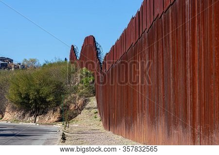 Section Of The United States Border Wall With Mexico From Nogales Sonora