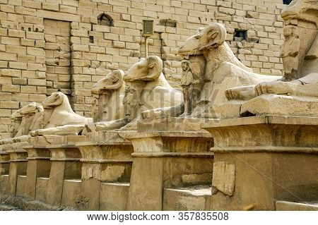 Sphinxes Statues In The Karnak Temple, Luxor, Egypt.the Karnak Temple Complex Comprises A Vast Mix O