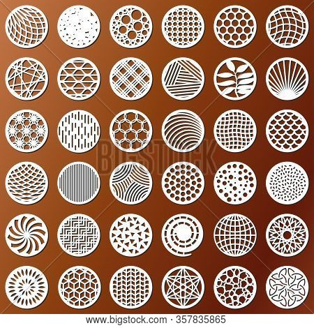 Set Decorative Circle Coaster For Laser Cutting. Round Abstract Geometric Coaster Card. Laser Cut De