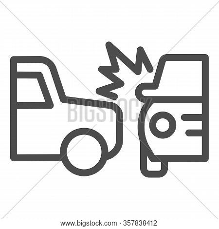 Two Automobile Road Crash Line Icon. Frontal Or Side Driving Collision Symbol, Outline Style Pictogr