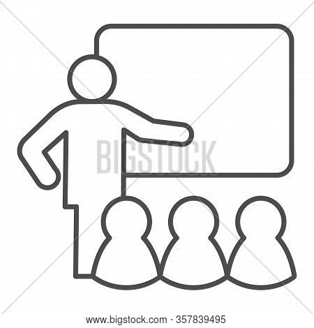 Lecturer Blackboard With Students Thin Line Icon. Lecture Or Training Lesson Symbol, Outline Style P