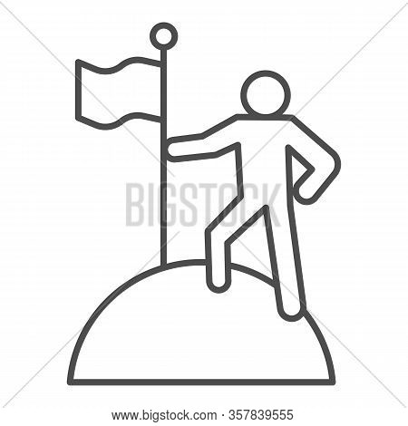 Man On Top Of Mountain With Flag Thin Line Icon. Discoverer, Victory Person Symbol, Outline Style Pi