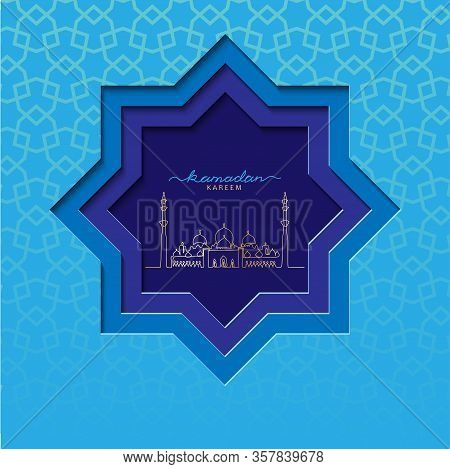 Ramadzan Blue Square Vector Card With Grand Mosque Illustration. Vector Papercut Card Design. Paper