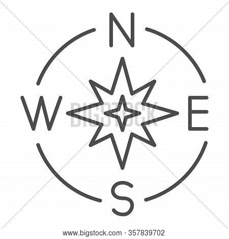 Compass Directions Thin Line Icon. Compassing Star, Oldstyle Discoverer Item Symbol, Outline Style P