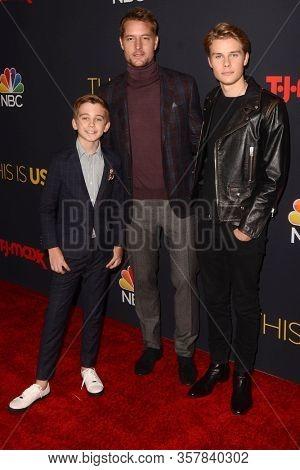 LOS ANGELES - SEP 24:  Parker Bates, Justin Hartley, Logan Shroyer at the