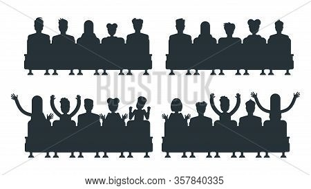 Silhouettes Of People In Cinema. Spectators Are Sitting In Chair In Front Of Large Screen. Cinema, S