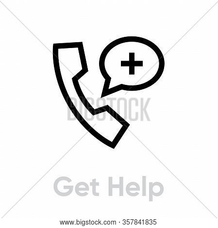 Get Help Protection Measures Icon. Editable Line Vector.