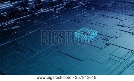 Perspective View Closeup 3d Illustration Concept Of Dark Black Highly Detailed Scifi Futuristic Patt
