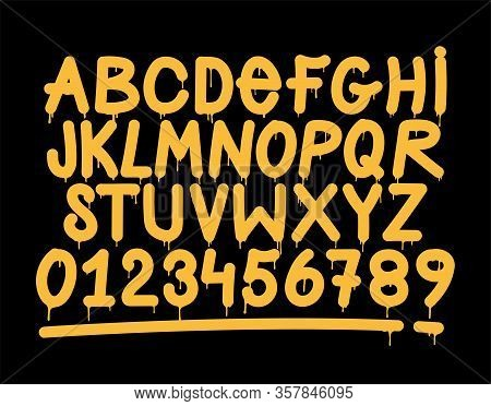 Graffiti Tag Style Alphabet, Decorative, Street Art, Vandal, Lettering. Fonts On The Wall City Urban