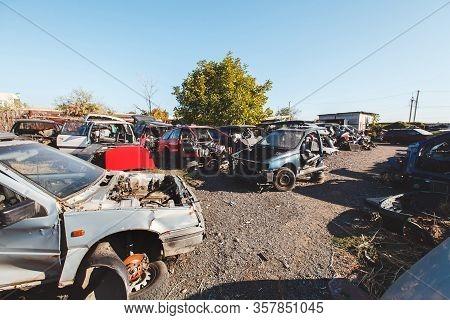 Scrap Car Recycle Yard. Hundreds Of Old Cars At A Scrap Yard.