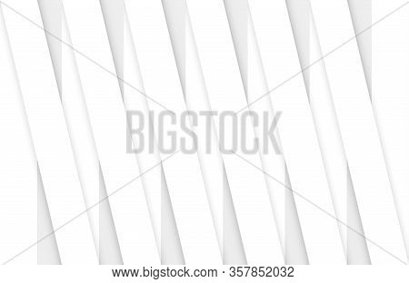 3d Rendering. Abstract Parallel White Panel Bars Pattern Wall Background.
