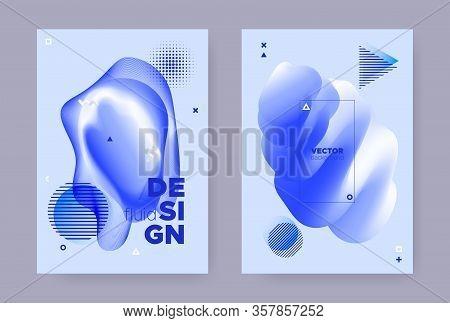 Blue Hipster Memphis Gradient. Vector Flow Design. Liquid Cover. Summer Business Magazine. Abstract