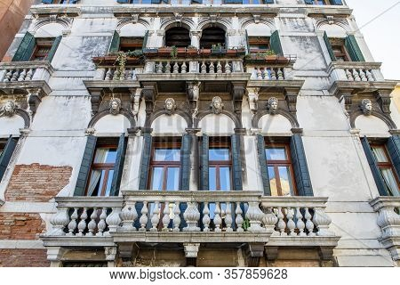 The Beautiful Age Worn Facade In Venice Italy