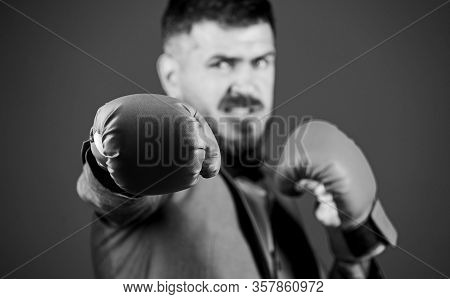 Powerful Man Boxer Ready For Corporate Battle. Businessman In Formal Suit And Bow Tie. Business And