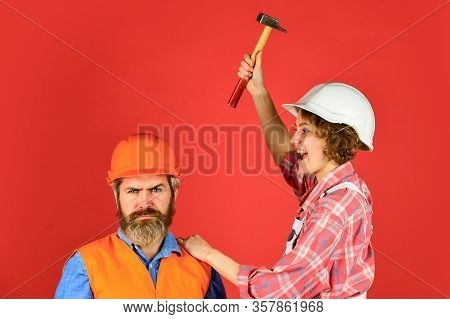 Couple Knocking Head With Hammer. Clearly Explain. Intelligibly Concept. Couple Renovating Apartment