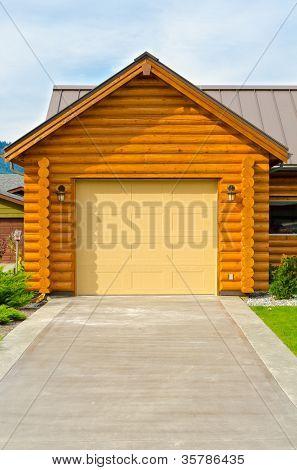 Garage door of a luxury house in Vancouver, Canada.
