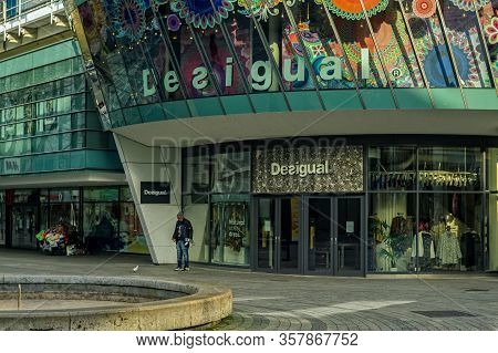 Stuttgart,germany - March 26,2020:koenigstrasse This Is A Closed Fashion Shop Of Desigual.it Is Clos