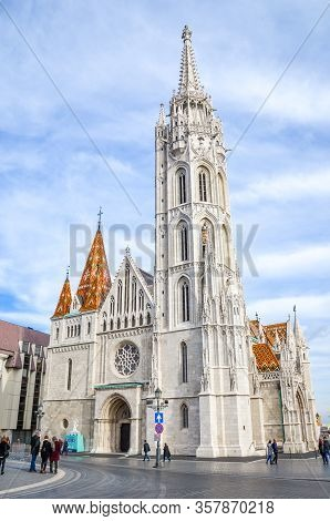 Budapest, Hungary - Nov 6, 2019: Spire Of The Matthias Church In Budapest, Hungary On A Vertical Pho