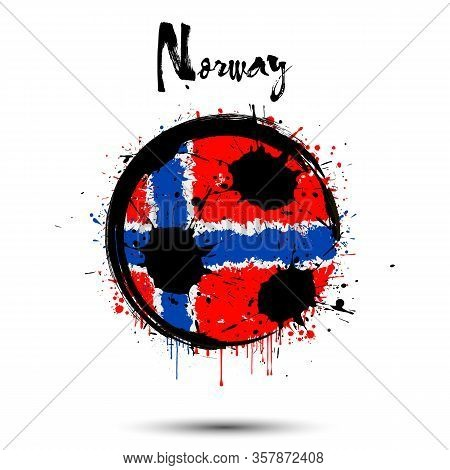 Abstract Soccer Ball Painted In The Colors Of The Norway Flag. Flag Of Norway In The Form Of A Socce