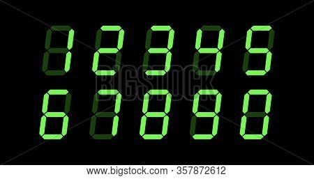Digit Numbers, Digital Screen With Green Digits. Digital Clock Or Counter. Stock Vector Illustration