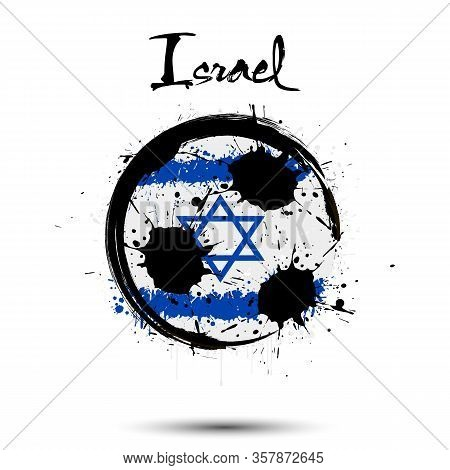 Abstract Soccer Ball Painted In The Colors Of The Israel Flag. Flag Of Israel In The Form Of A Socce