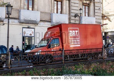 Catania, Sicily - February 12, 2020: Iveco Daily 35c12 Car Of The Brt Corriere Espresso Delivery Com