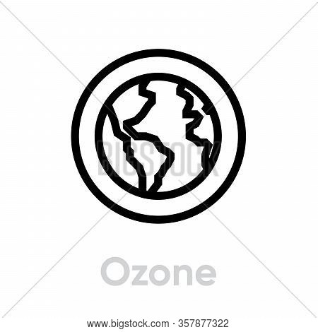 Ozone Globe Earth Icon. Editable Line Vector.
