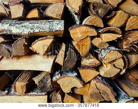 Old Birch Woodpile In A Country House Background Wallpaper