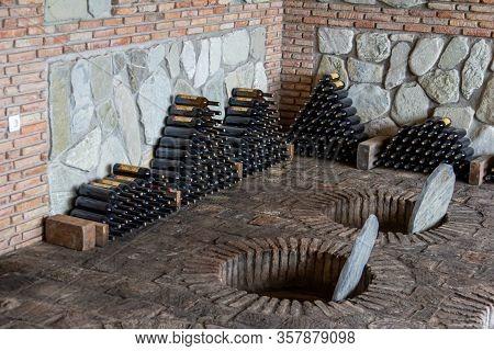 July 6, 2019 - Sekhnika Winery, Kakheti, Georgia - Traditional Method Of Producing Georgian Wine In
