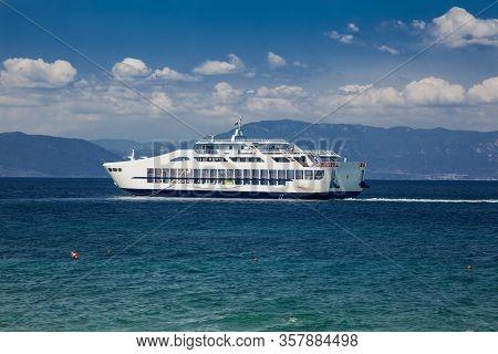 Ferryboat start from Lutra Edipsou (Aidipsos), Evia island, Greece.
