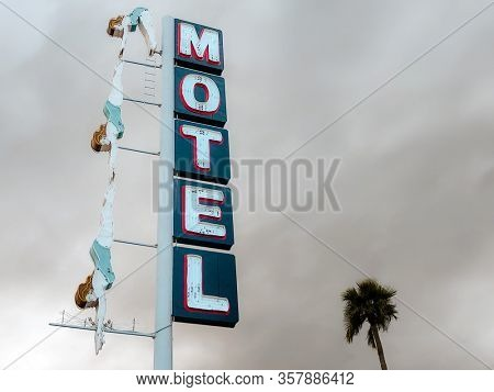 Mesa,Az,USA -3.13.20  Mesa Preservation Foundation with public donations restored The iconic Diving Lady Neon sign built in 1960 for the Starlite Motel after a storm virtually destroyed it in 2010.