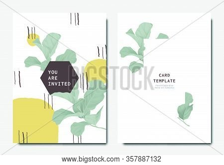 Botanical Invitation Card Template Design, Green Fiddle Leaf Fig With Hand Drawn Doodle Graphics On